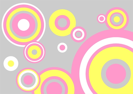 White, pink and yellow circles on a grey background. Vector