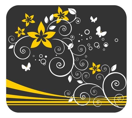 White vegetative curls with gold flowers and strips on a black background. Stock Vector - 1975690