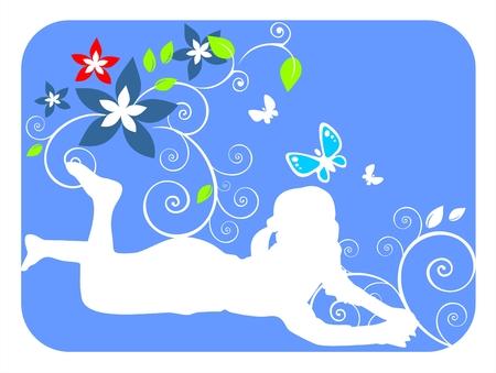 安らぎ: 暗い背景色が青い花と植物の女の子の白いシルエットをカールします。