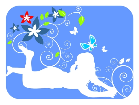 vegetative: White silhouette of the girl on a dark blue background with flowers and vegetative curls. Illustration