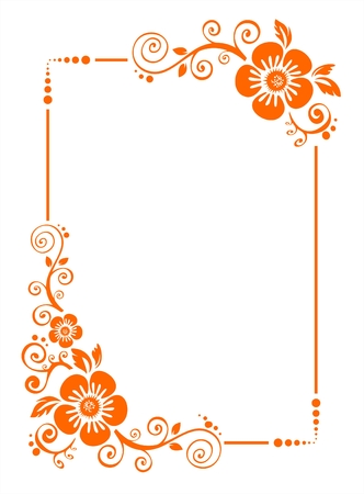 Orange cadre de décoration de fleurs sur un fond blanc.