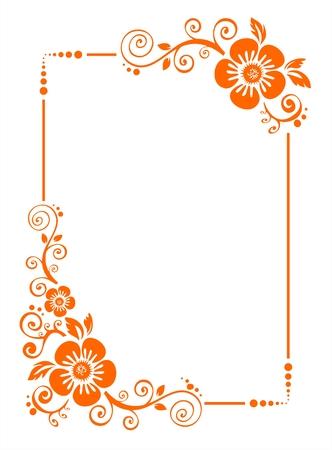 Orange da cornice decorativa fiori su fondo bianco.
