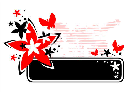 The black frame with the red stylized flowers and butterflies on a white grunge background. Stock Vector - 1975688