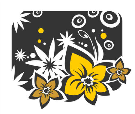 The yellow and white stylized flowers on a black background. Stock Vector - 1975684