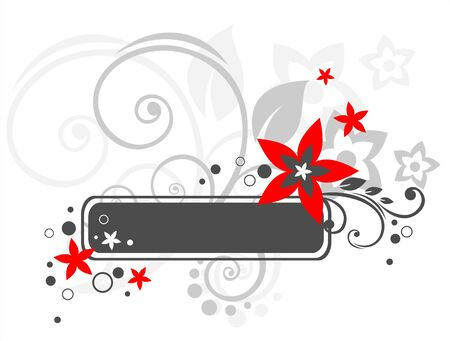 The black frame with the red stylized colors and vegetative curls. Stock Vector - 1975686