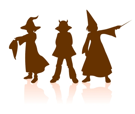 Three dark childrens silhouettes in Halloween dress: a witch, a devil and the fairy. Vector