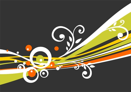 vegetative: Dark decorative background with orange, green both white strips and vegetative curls.