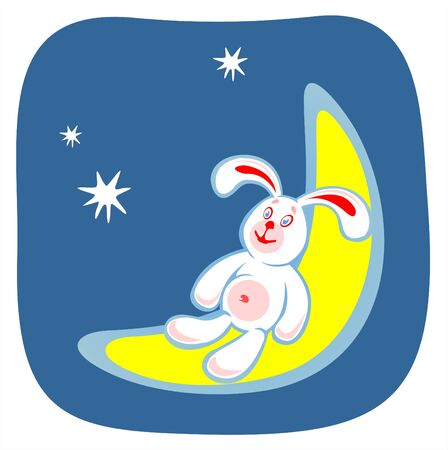 frisky: The stylized smiling rabbit sits on the moon on a background of the star sky. Illustration