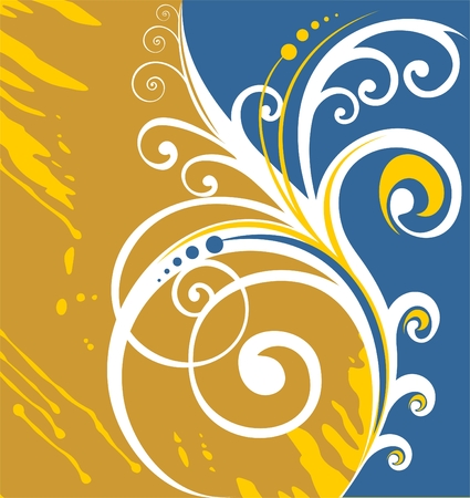 White vegetative curls on a yellow and dark grunge blue background. Stock Vector - 1975685