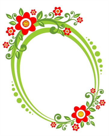 Green framework with a decorative vegetative ornament and red flowers. Vector