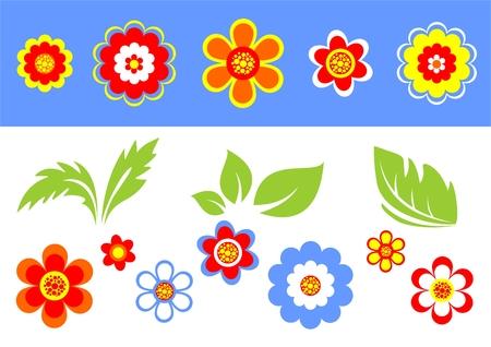 vereenvoudigen: Gestileerde bloemen en bladeren op een blauw witte achtergrond.