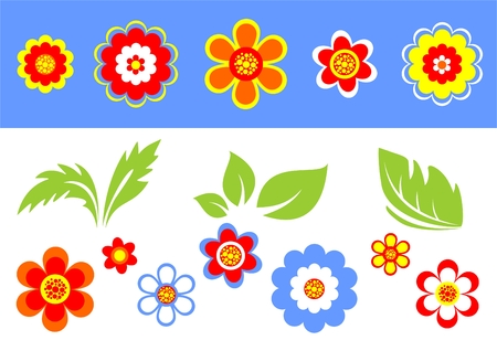 Stylized flowers and leaves on a blue-white background. Stock Vector - 2008984