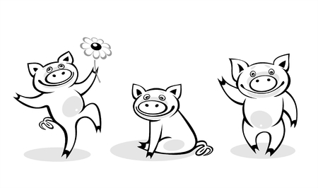 Three amusing black-and-white pigs on a white background. Vector