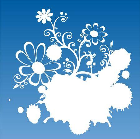 Blue-white grunge background with flower and blots. Vector