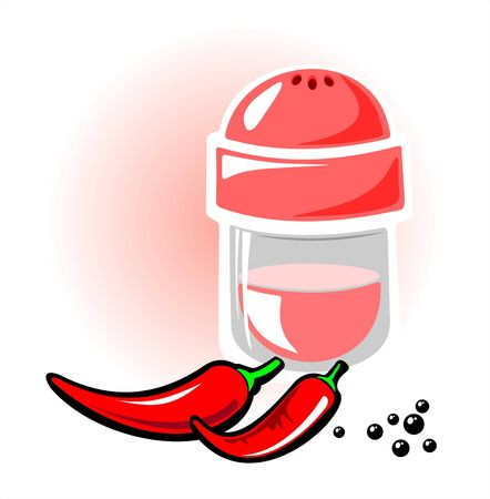 Pepper red and pepper black on a white background. Vector