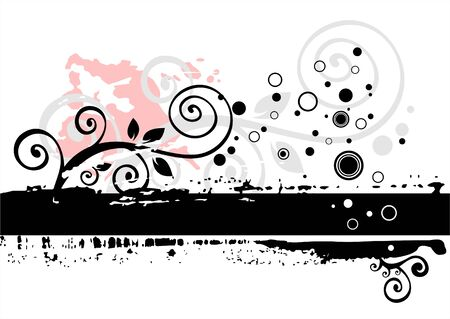 Black-white grunge background with vegetative elements and blots.