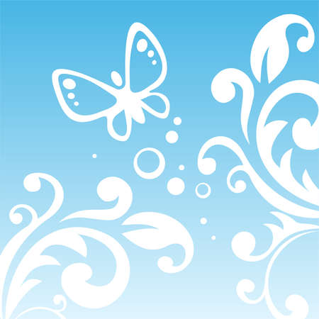 White vegetative pattern and the butterfly on a blue background. Stock Vector - 2008973