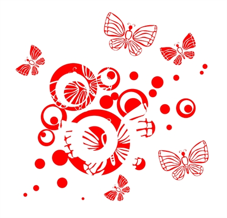 simplify: Red silhouettes of butterflies on a background of a pattern from red circles Illustration