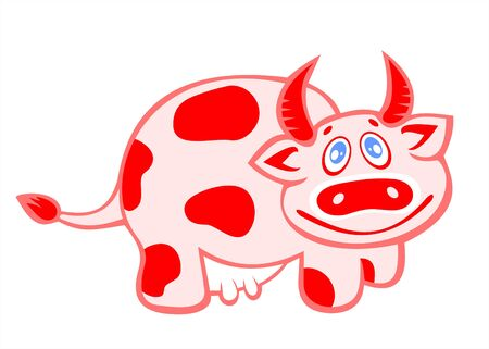 The pink ridiculous cow on a white background. Illustration