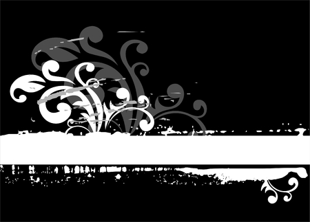 vegetative: Black-white grunge background with vegetative elements and blots.