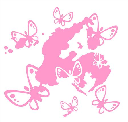 simplify: Pink silhouettes of butterflies on a background pink blot.