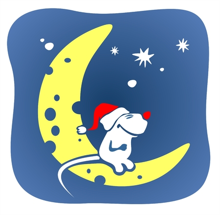 fondly: A smiling white mouse in a red cap sits on the moon on a background of the star sky.