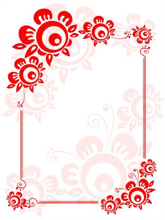 Frame from red decorative flowers on a white background. Stock Vector - 2032669