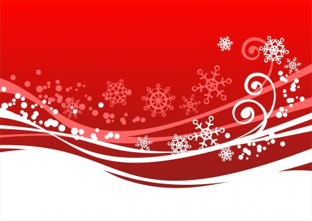 Red pattern with snowflakes and curls on a dark blue background.