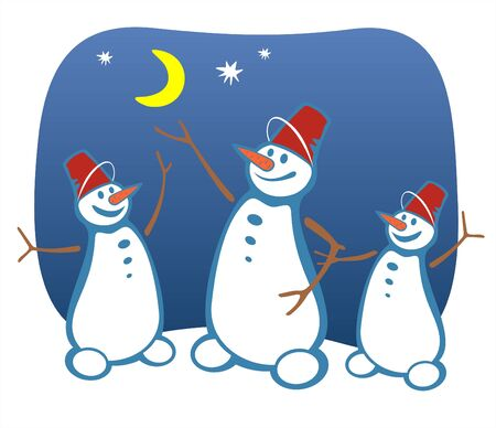 fondly: Three cheerful snowballs on a background of the night star sky. Illustration