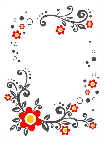 Frame from red decorative flowers on a white background.