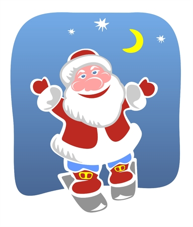 fondly: Cheerful Santa Claus on skis on a background of the night star sky. Illustration
