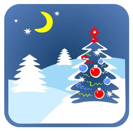 vereenvoudigen: De bont versierde kerst-boom op een achtergrond van een winterlandschap.