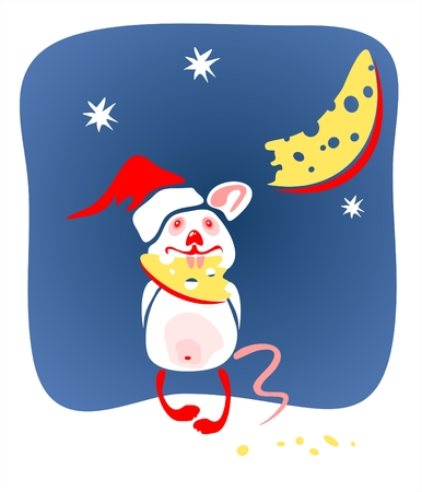 The amusing mouse in a christmas cap hold a piece of the moon.