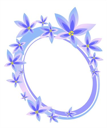 The frame from the stylized violets on a white background. Digital illustration. Stock Illustration - 2032652