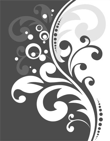 Decorative black  pattern on a white background. Digital illustration. Stock Vector - 2073788