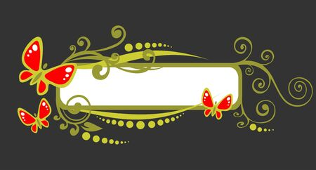 The green frame with decorative foliage and butterflies on a dark background. Vector