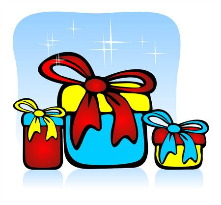 Three gift boxes on a dark blue sparkling background. Holiday illustration. Stock Vector - 2073791