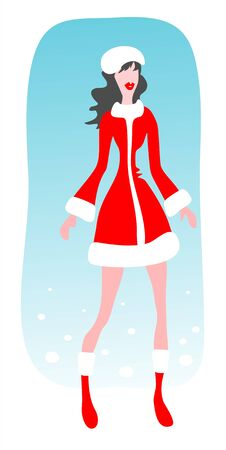 The stylized girl in christmas clothes on a blue background.