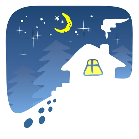 The stylized house on a background of fur-trees and the sparkling star sky. Vector