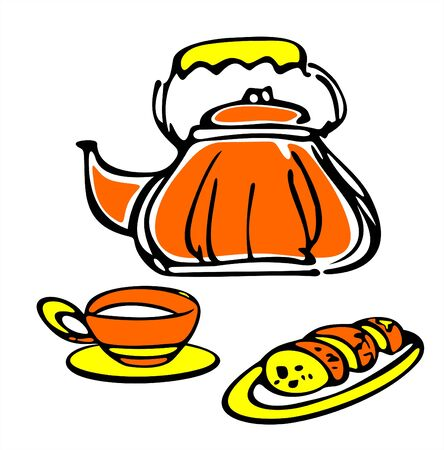 fruitcake: The stylized teapot, cup and fruitcake on a white background. Illustration