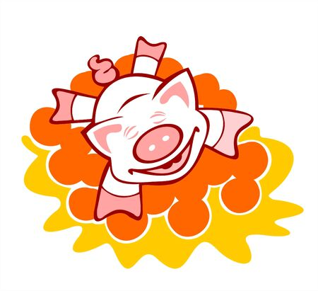 The cheerful pig lays on a heap of oranges. Vector