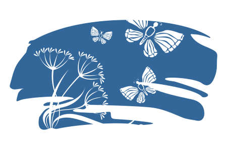 graceful: White silhouettes of flowers and butterflies on a background of a dark blue spot.