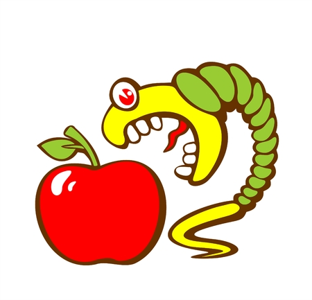 big apple: The greater green caterpillar wishes to eat an apple.