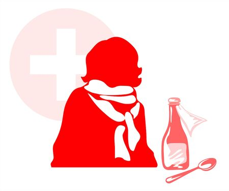 malaise: Silhouette of the caught a cold person in a scarf with mixture and the spoon on a background of a red cross. Illustration