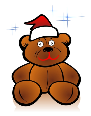 fondly: Toy bear with Christmas cap on a white background. Christmas illustration. Illustration