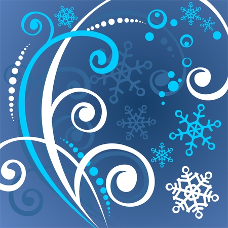 White pattern with snowflakes and curls on a dark blue background. Vector