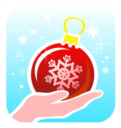 The stylized hand holds a red christmas sphere with a snowflake pattern. Vector