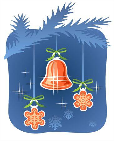 furtree: Christmas handbell and snowflakes hang on a fur-tree branch.