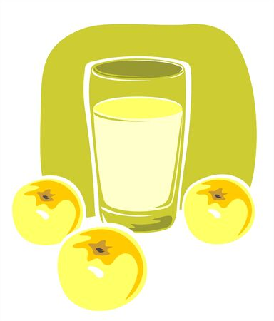 Three stylized apples and glass of juice on a white background. Vector