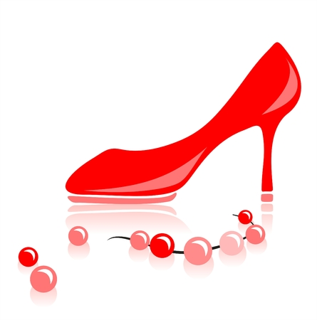 Red female shoe on a high heel and a beads on a white background.